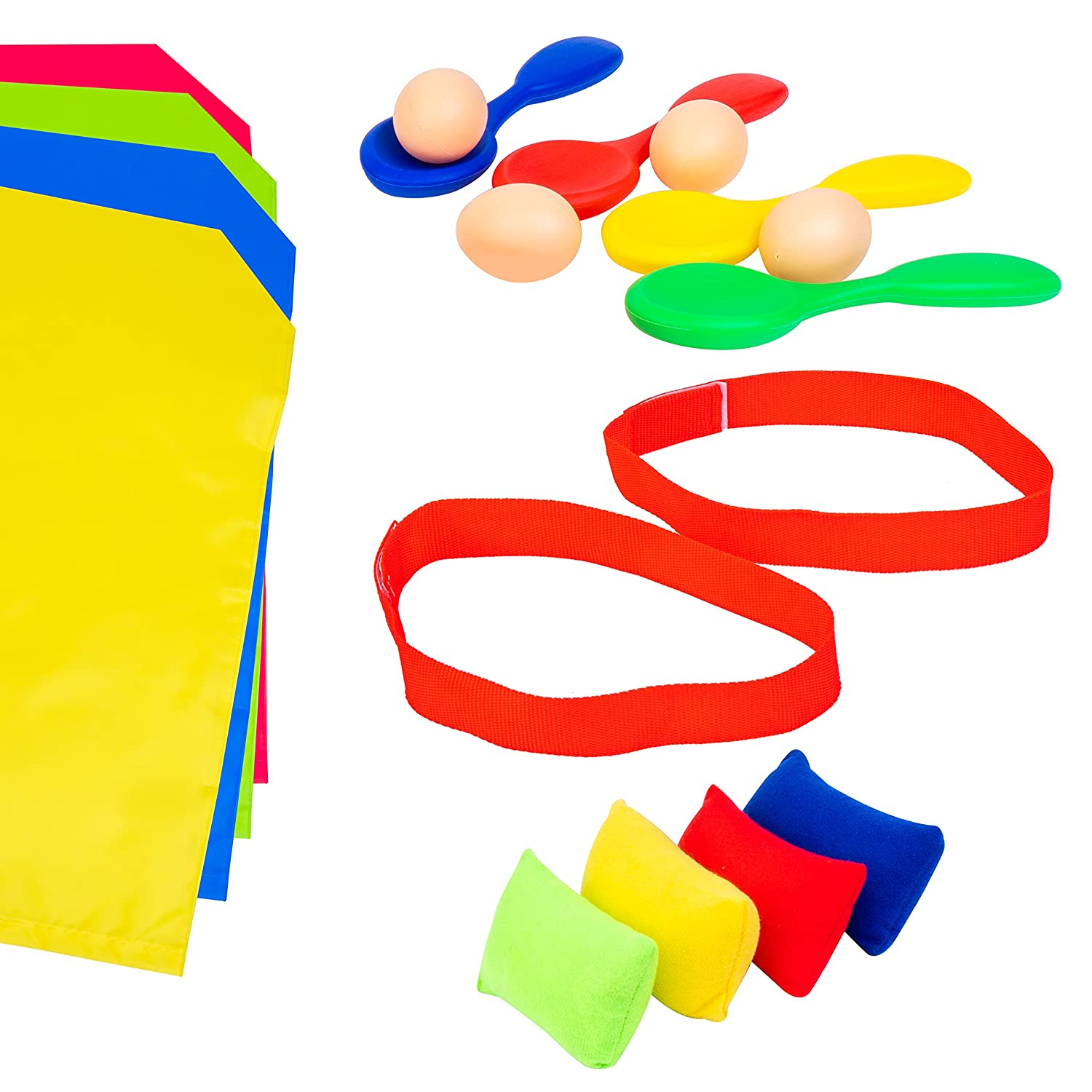 Voucchi Outdoor Birthday Party Games for Kids, Tested & Proven, Amazing Fun For All, 4 in 1 Favorites are Potato Sack Race, Egg & Spoon Race, 3 Legged Race & Bean Bag Toss AlliJac