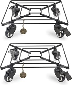 Reficia 2 Pack Square Metal Plant Caddy With Wheels Heavy Duty Plant Stand on Wheel Indoor Outdoor Holds up 12inch 14inch 265 Lbs Sturdy Designed Iron Pot Coaster on Wheels Smooth Rolling Plant Stands