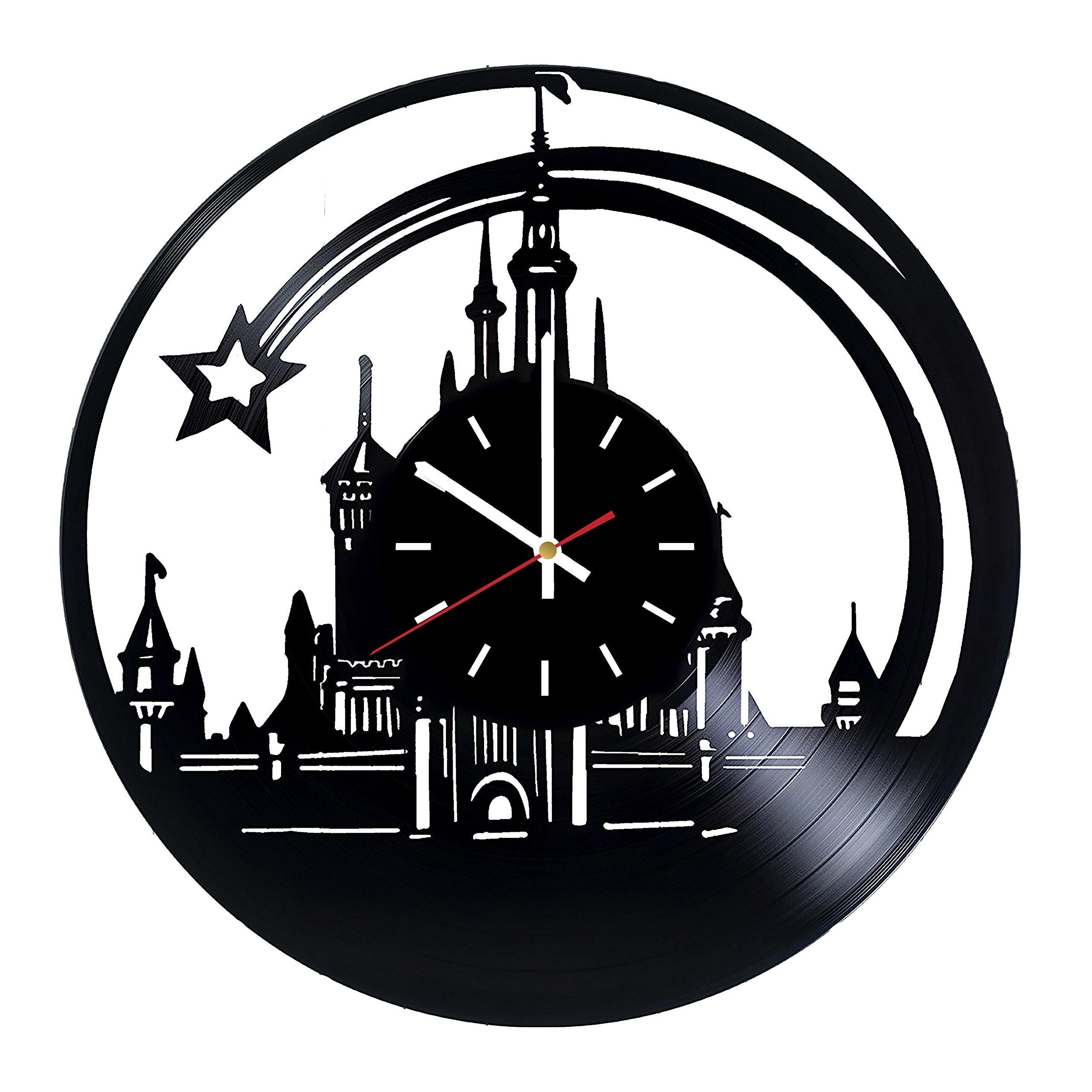 Everyday Arts Walt Disney World Castle Design Vinyl Record Wall Clock - Get Unique Bedroom or Garage Wall Decor - Gift Ideas for Friends, Brother - Darth Vader Unique Modern Art