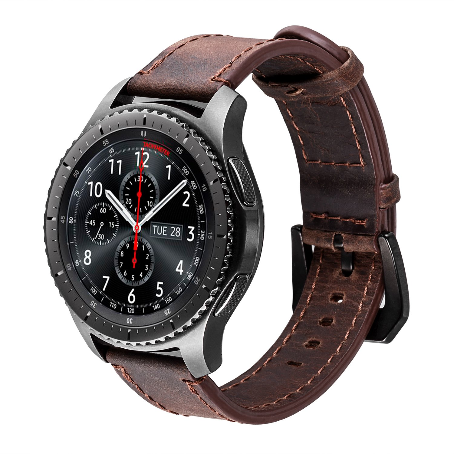 iBazal Gear S3 Watch Band 46mm, Gear S3 Frontier/Classic Bands with Black Clasp 22mm Genuine Leather Replacement Strap for Samsung Gear S3 Frontier/Classic SM-R760 / Pebble Time-Coffee+Black Clasp by iBazal