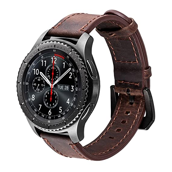 iBazal Gear S3 Watch Band 46mm,Gear S3 Frontier/Classic Band with Black Clasp 22mm Genuine Leather Band Replacement Strap for Samsung Gear S3 ...