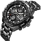 Tamlee Luxury Full Steel Analog Digital Watches for Men Led Male Outdoor Sport Military Wristwatch
