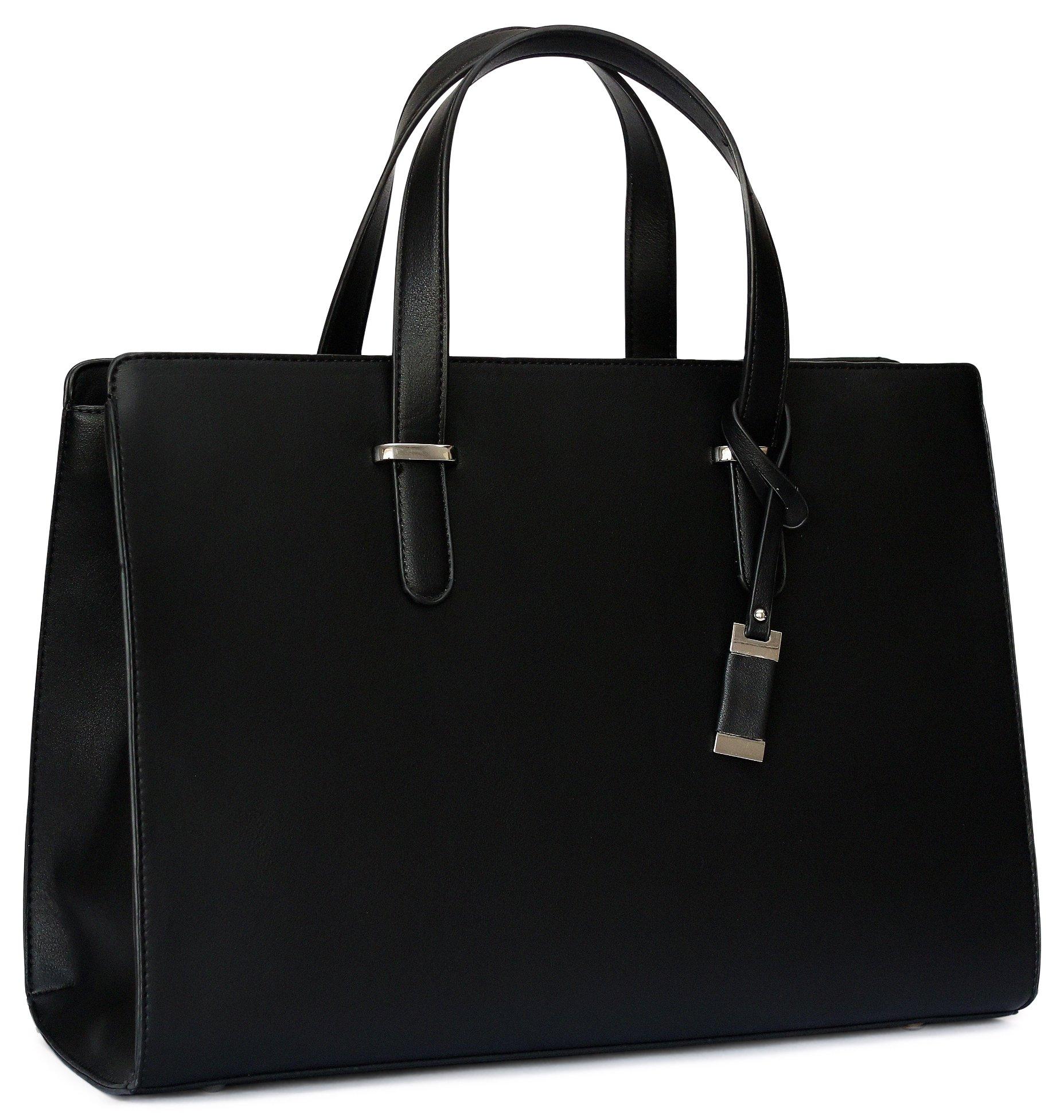 Premium Laptop Bag/Handbag For Women - Durable Computer Carrier Messenger Bag For College Students, Office Workers & Businesswomen | High End &Fashionable Tote Bag For Laptops/Notebooks (Black)