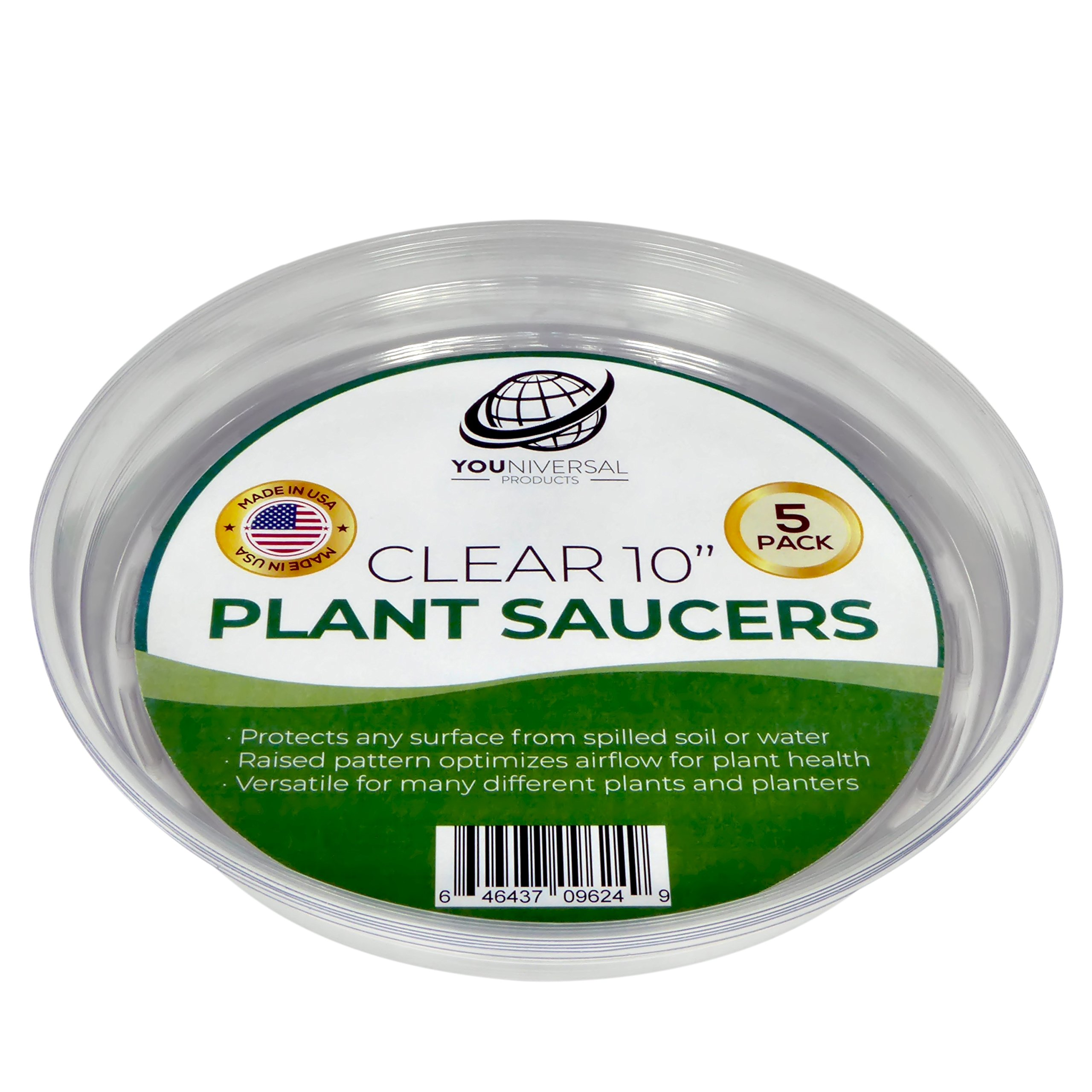 YOUniversal Products Clear Plant Saucers - 5 Pack of 10 Inch - Excellent For Indoor & Outdoor Plants by YOUniversal Products