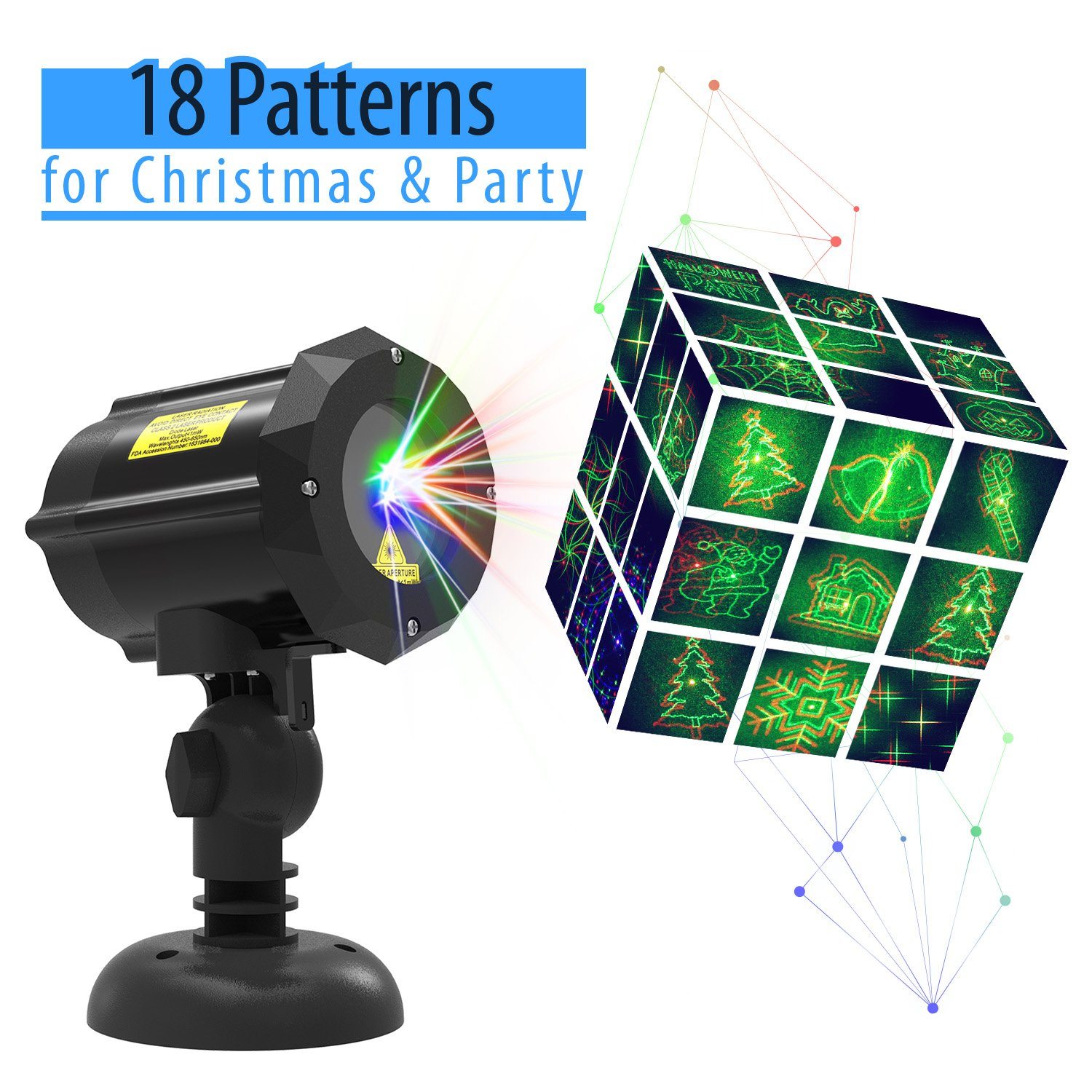 Laser Light, Christmas Laser Lights with 18 Patterns [Christmas tree ...