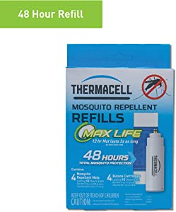 Thermacell Max Life Mosquito Repellent Refills, 48-Hour Pack; Mat Lasts 3x Longer than Originals; Contains 4 Scent-Free, 12-Hour Repellent Mats and 4 Fuel Cartridges; DEET-free, No Spray, No Mess