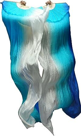 GREEN TO LIGHT GREEN PAIRS 1.5M BELLY DANCE 100/% SILK FANS original tie-dye