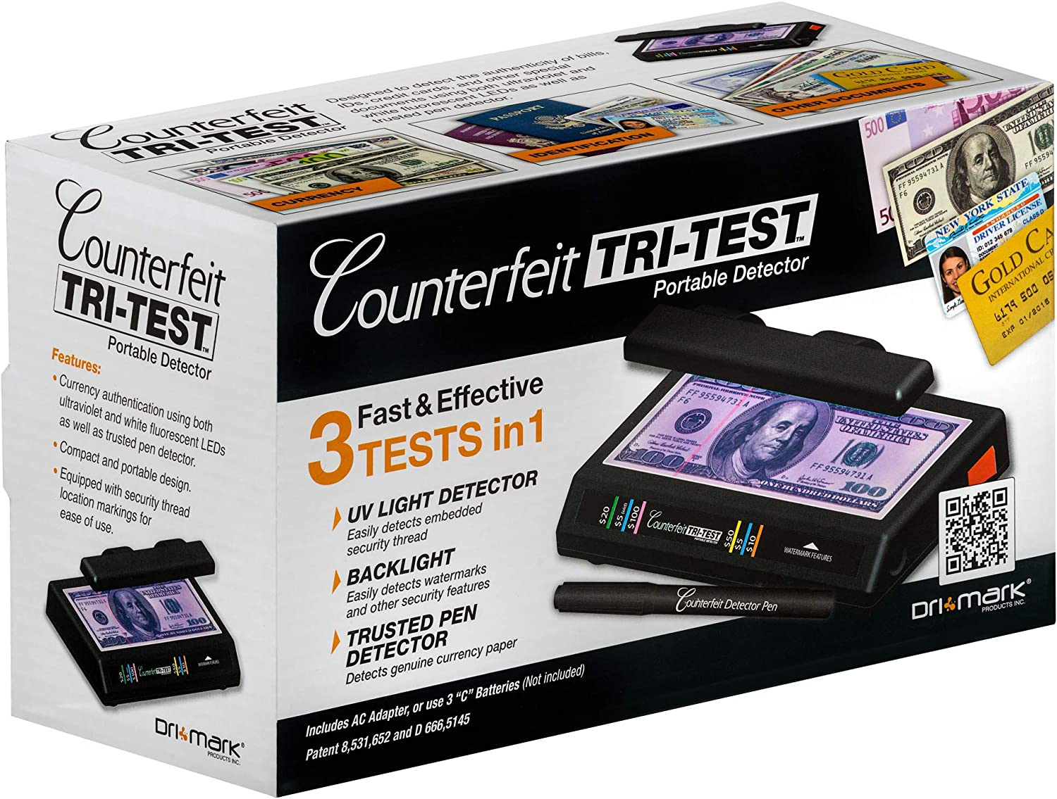 Black 351T Dri Mark Products Tri-Test Ultraviolet Counterfeit Detection System
