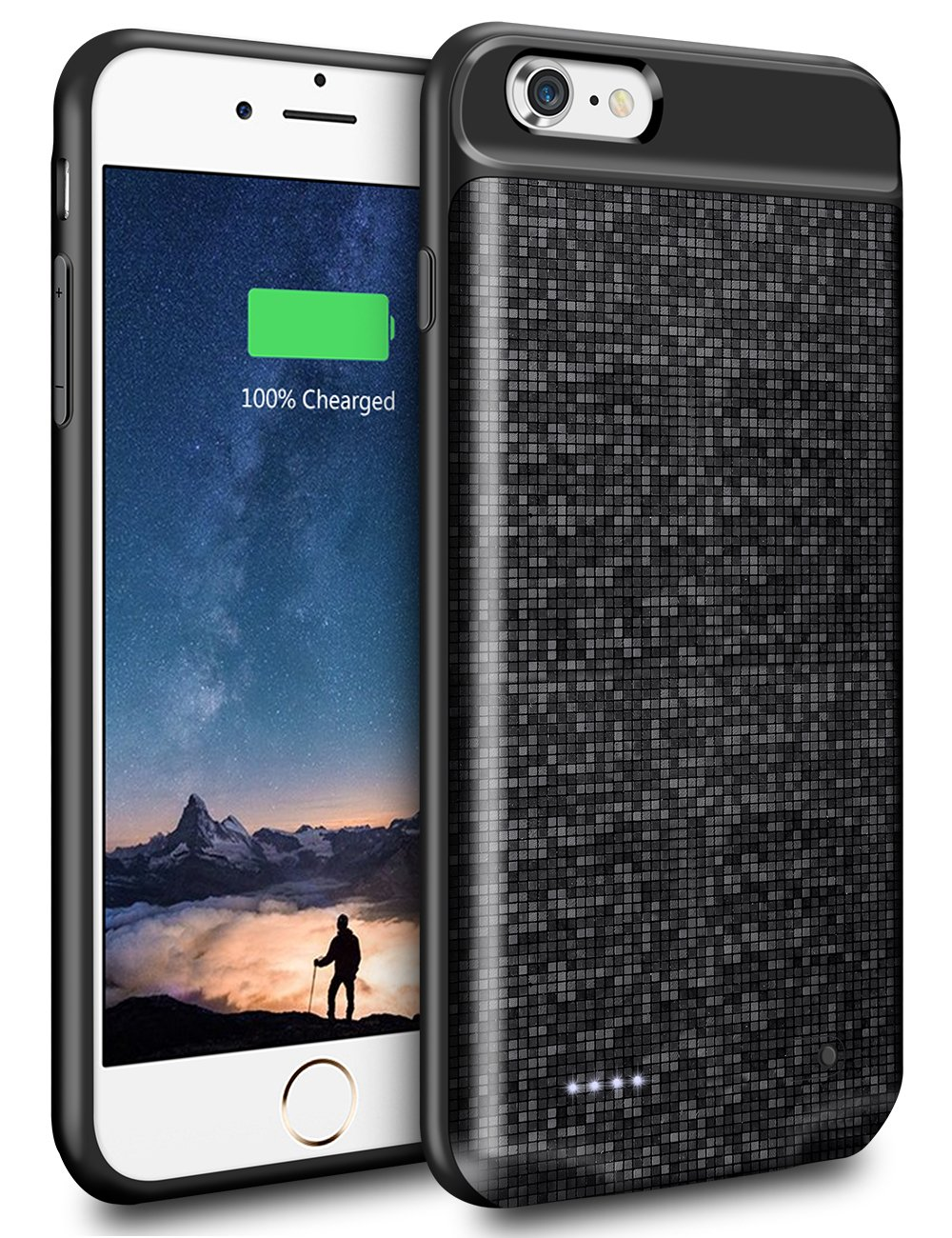 XNMOA iPhone 6S Plus Battery Case 4200mAh Portable Power Bank iPhone 6 Plus Charger Case Cover Shockproof Protective Rechargeable External Battery Case Slim for Apple iPhone 6s Plus/6 Plus -Black