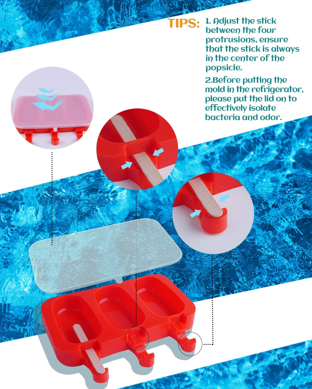 leicht zu l/ösen Kuchen oder Eis oder Eis am Stiel 2 x 3 Mulden f/ür Kinder mit Deckel mit 80 Stielen rot BPA-frei MoHern Silikonformen f/ür Eis am Stiel