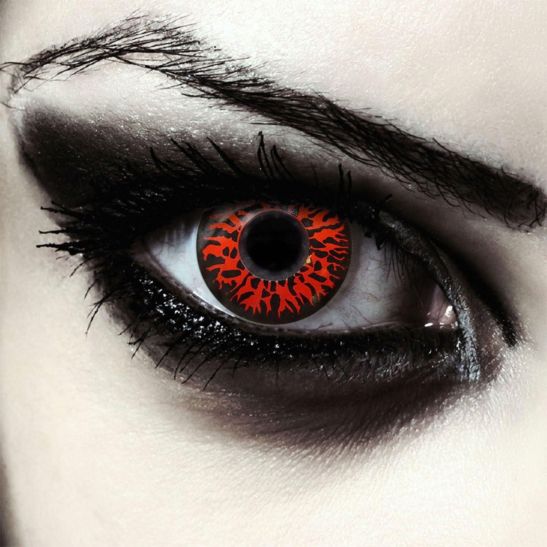 "Designlenses, Dos lentillas de color rojo para Halloween monstruo disfraz lentes sin dioprtías/corregir + gratis caso de lente ""Red Fear"