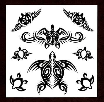 Amazoncom Polynesian Honu Turtle Tribal Temporary Tattoos Set