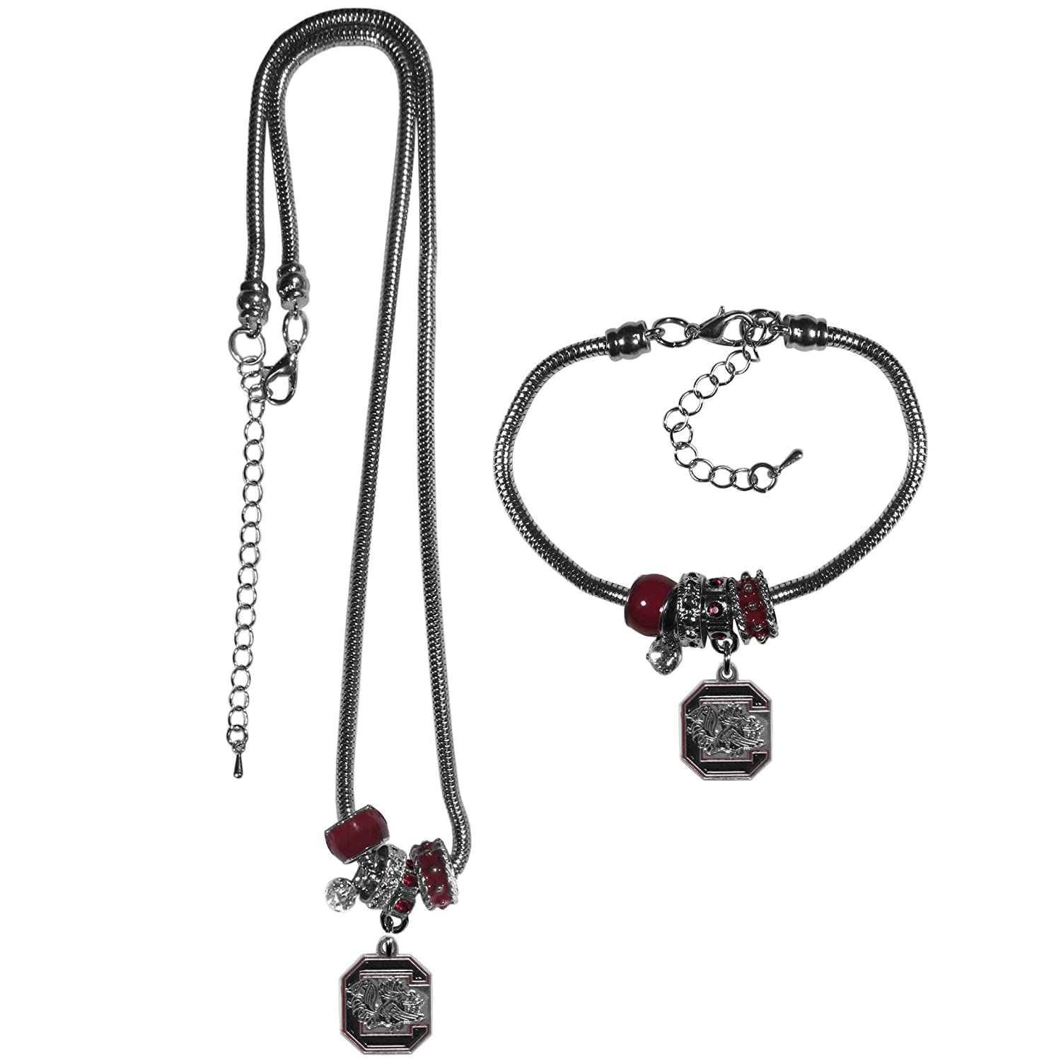 Siskiyou NCAA Womens Euro Bead Necklace and Bracelet Set
