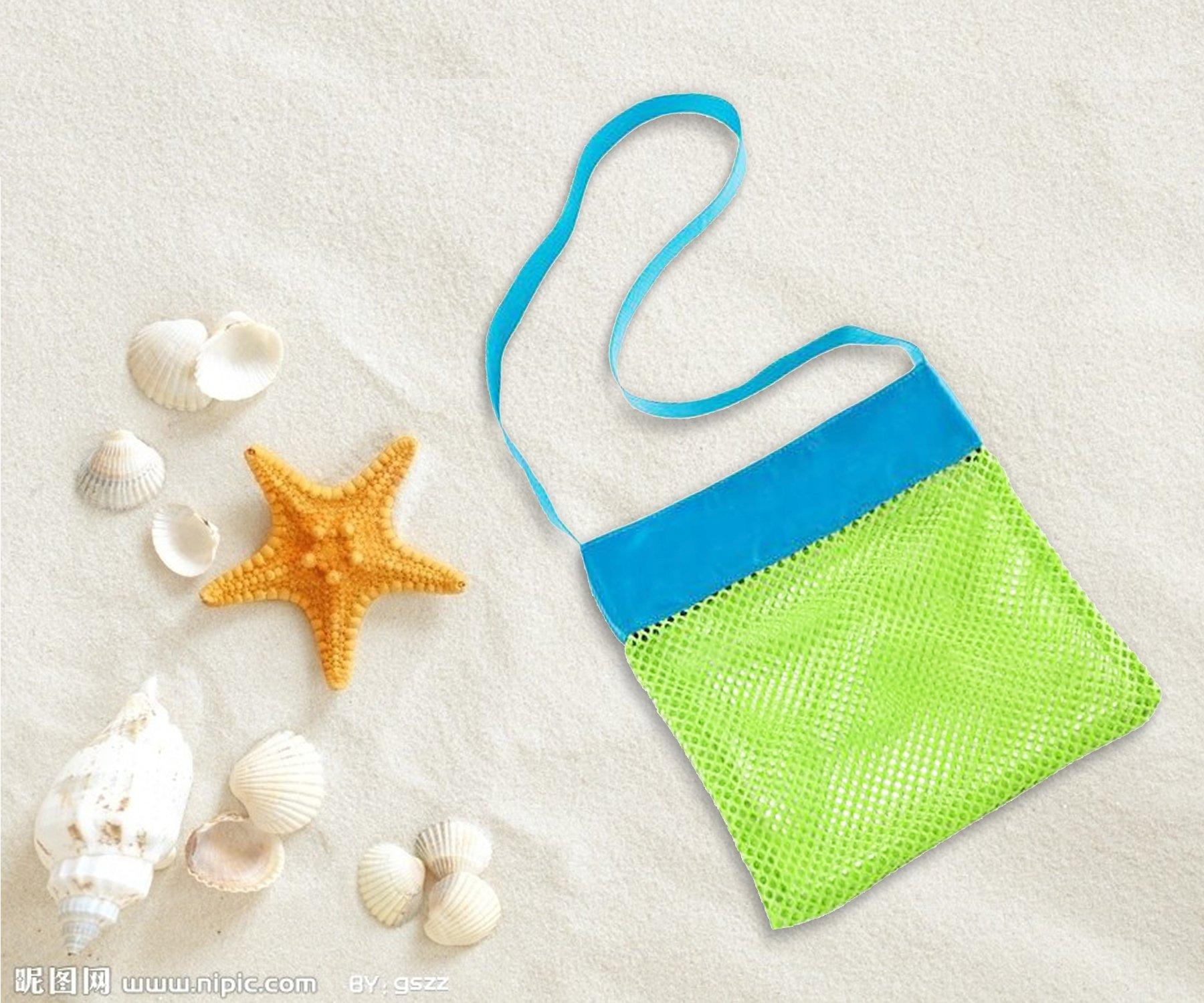 MODARANI Kid's Small Mesh Beach Bag Water Toy Tote Bag Crossbody Travel Bag for Boys Girls by MODARANI (Image #2)