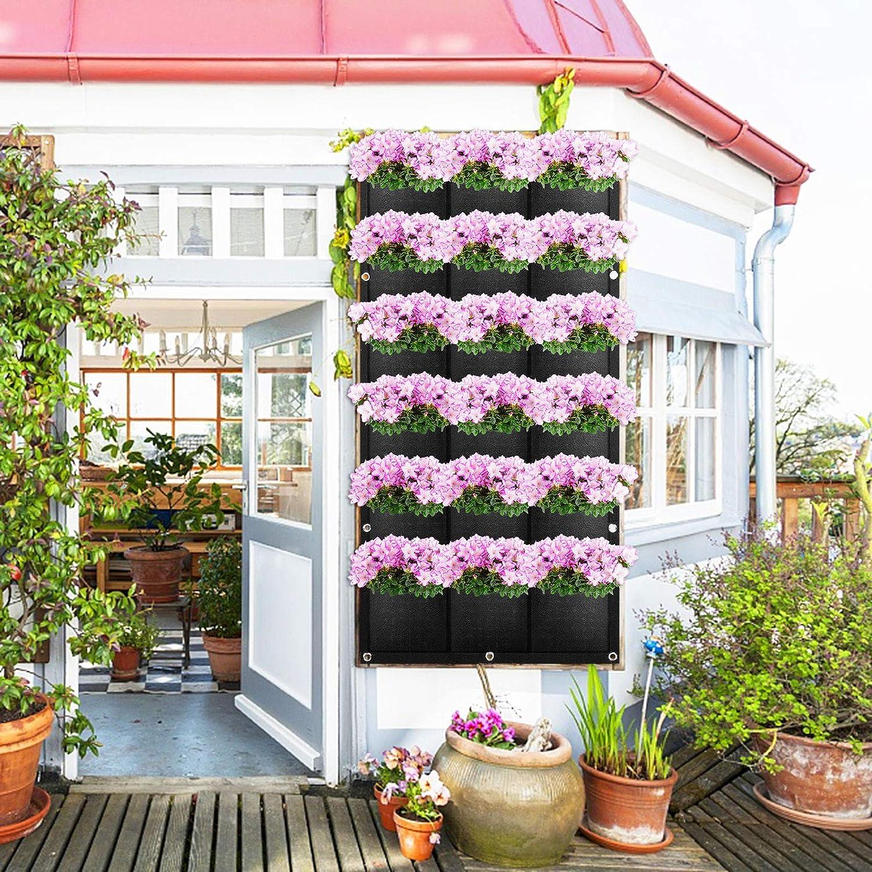 18 Poches Sac de Plantation Vertical ANSUG Sac de Suspension de Plantes Mural Jardini/ère Verticale Int/érieur Ext/érieur pour Jardin Cour Balcons