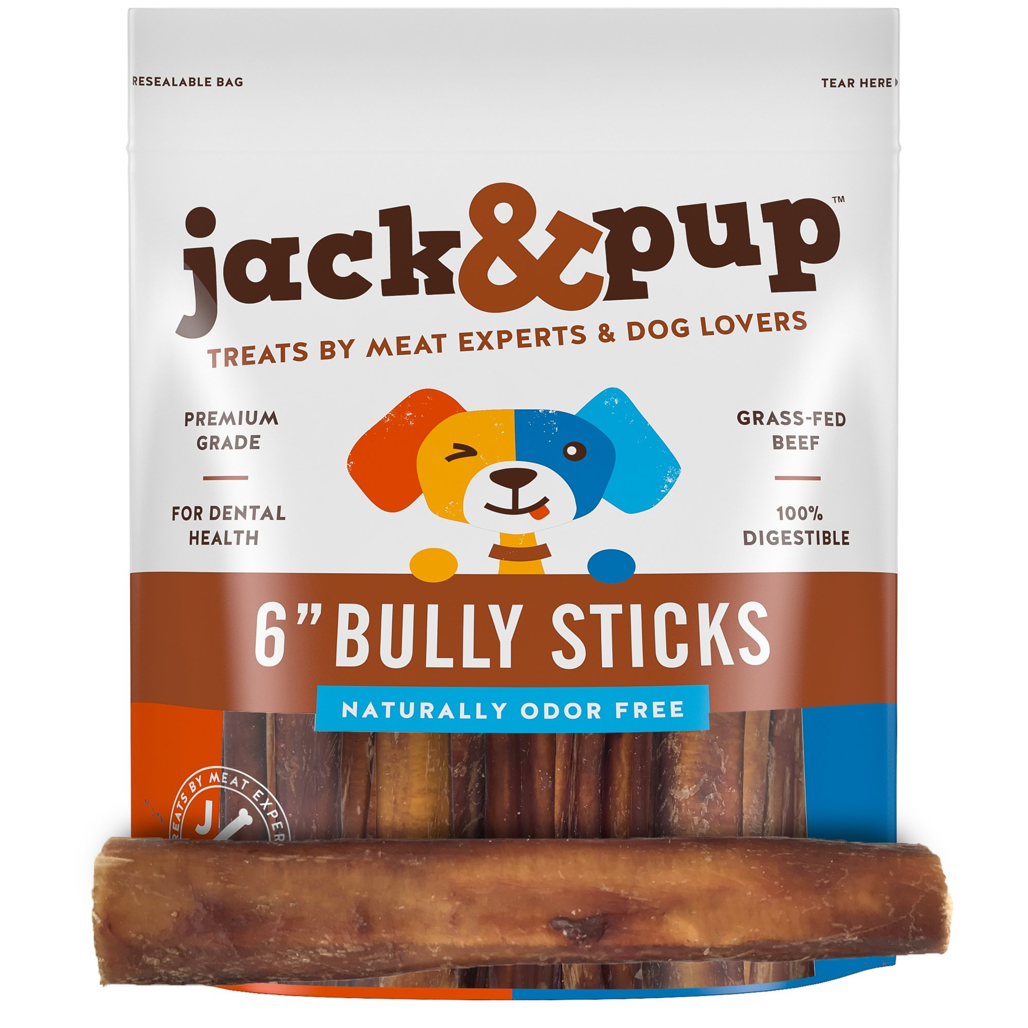 Jack&Pup 6-inch Premium Grade Odor Free Bully Sticks Dog Treats [Thick], (40 Pack) - 6'' Long All Natural Gourmet Dog Treat Chews - Fresh and Savory Beef Flavor - 30% Longer Lasting