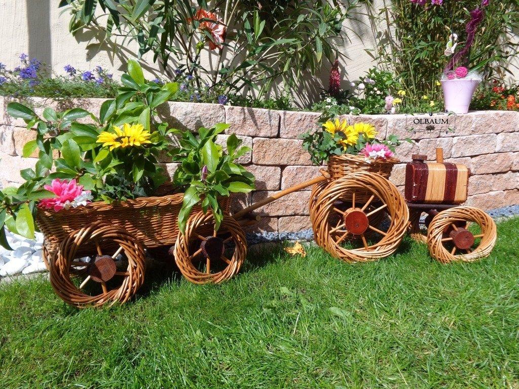 Traktor+Hänger braun 80 + 65 cm XXL, aus Korbgeflecht, Korbruten wetterfest**, pfiffige GARTENDEKO, ideal als Pflanzkasten, Blumenkasten, Pflanzhilfe, Pflanzcontainer, Pflanztröge, Pflanzschale, Rattan, Weidenkorb, Pflanzkorb, Blumentöpfe, Holzschubkarre, Pflanztrog, Pflanzgefäß, Pflanzschale, Blumentopf, Pflanzkasten, Übertopf, Übertöpfe, , Holzhaus Pflanzgefäß, Pflanztöpfe Pflanzkübel