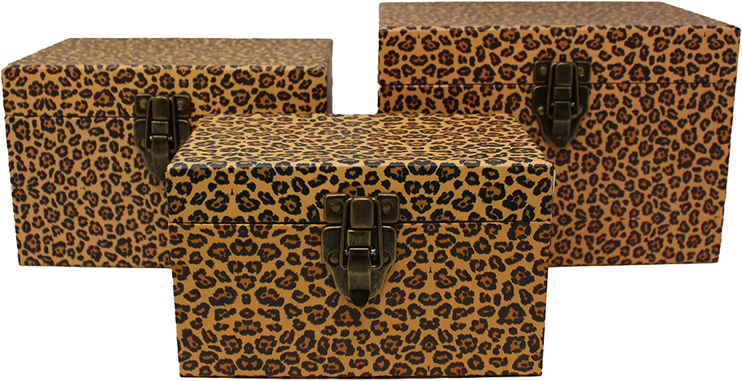 Leopard Print Chest Paperboard Boxes (Set of 3), Leopard Print Party Gifts, Leopard Print Party Favors, Leopard Print Room Decorations, Birthday Parties, Storage or Display