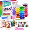 DIY Fluffy Slime Kit, Crystal Slime Making Kit Comes with 18 Slime Containers, Foam Balls, Fresh Fruit Decoration, Sugar Paper, Glitter Jars, Tools for Kids