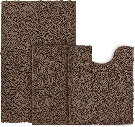 Amazon Com Bysure Brown Bathroom Rug Set 3 Piece Non Slip Extra Absorbent Shaggy Chenille Rugs And Mats Sets Soft Dry Bath Mat For Washable Carpets Kitchen