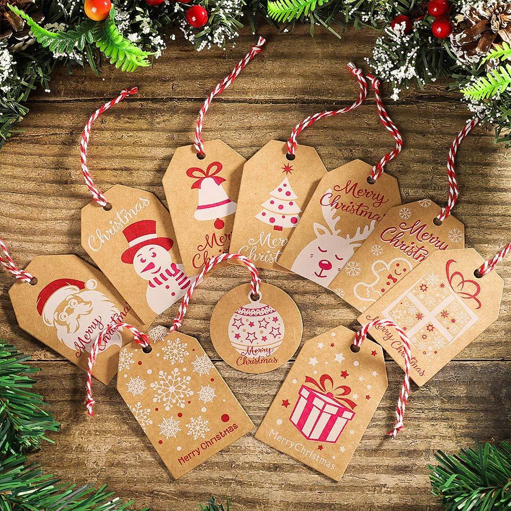 Partys Partys Rubywoo/&chili 200 Stk Anh/änger Papieranh/änger Etiketten Dekoanh/änger und 20m Jute Schnur//B/änder Baumwolle Schnur f/ür Weihnachten Urlaub Weihnachten Geschenkanh/änger Kraftpapier