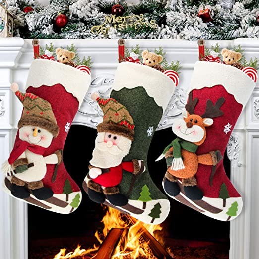Christmas Stockings Set of 3 Stockings Personalized 3D Santa Snowman Reindeer