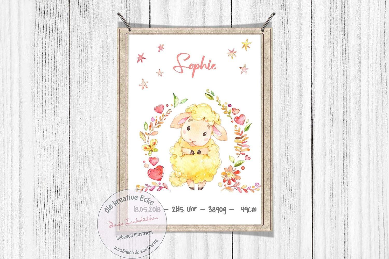 Geburtsposter Kinderzimmerposter Boho Schaf Blumen personalisiert M/ädchen Print Geburt Poster Geburt DIN A4
