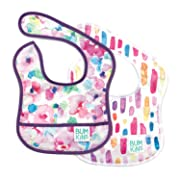 Bumkins Baby Bib, Waterproof Starter Bib 2 Pack (GF-Watercolor/Brushstrokes) (3-9 Months)