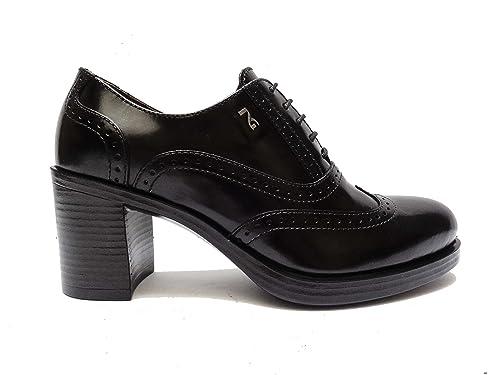 Scarpe donna Nero Giardini 19360 francesine con lacci in pelle Nero tacco cm. 7