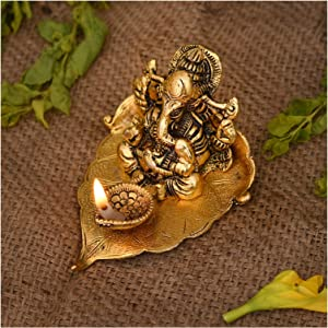 NOBILITY Ganesha on Leaf Statue with Diya for Home Decorative Gift Puja Diwali Gifts
