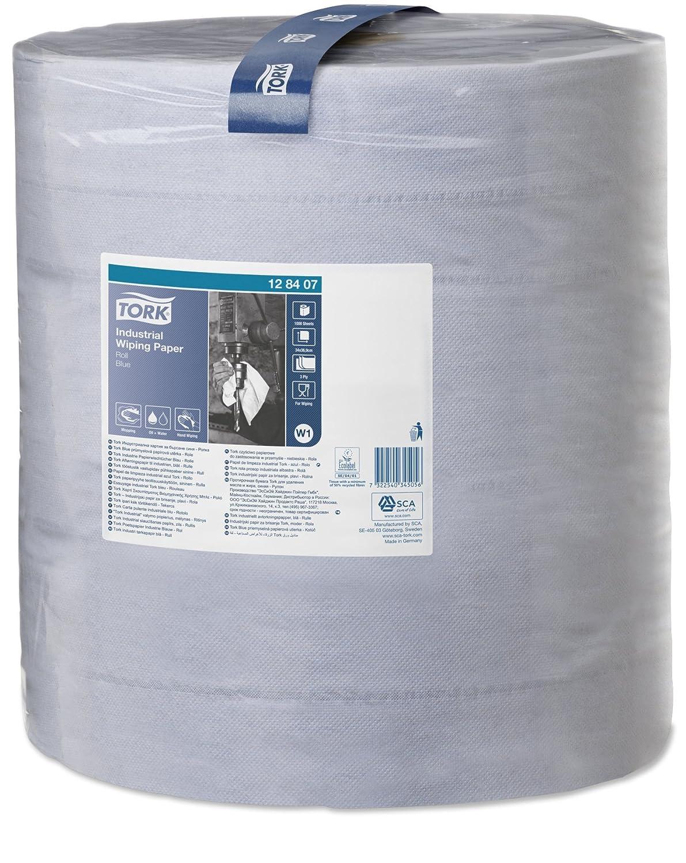 Tork 128407 Carta per asciugatura industriale Universal, compatibile con il sistema W1 (da terra o da parete), 3 veli, 1 conf. x 1 rotolo (1 x 340 m), colore blu