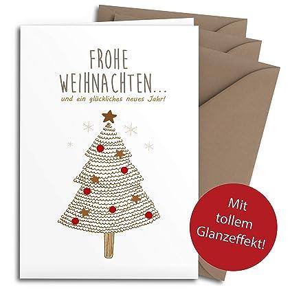Christbaum Rot F/ür Familie edel modern einfach /& schlicht Klappkarten mit Umschlag Set Freunde /& gesch/äftlich 20 Weihnachtskarten mit tollem GLANZEFFEKT inkl Umschl/ägen aus Kraftpapier