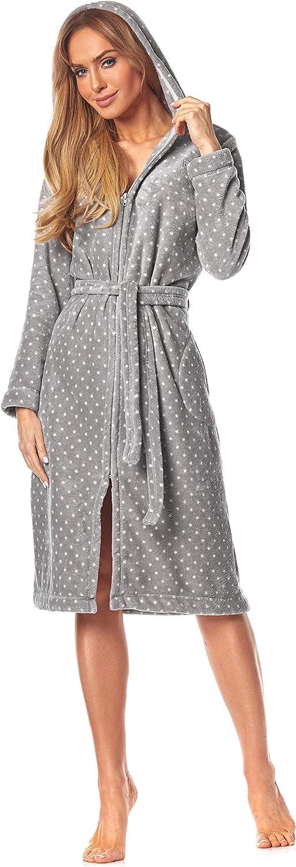 Extrem Leicht 9156 Long Luxury Toweling Damen Weicher Langarm Bademantel Hausmantel mit Rei/ßverschluss in Voller L/änge mit Kapuze f/ür Damen. L/&L