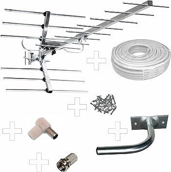 Kit Completo: Classic – 4G/LTE Listo – Antena Digital de Alta Ganancia para TV HD, Antena de Aire Libre, Cable de 20 m + Soporte de Pared