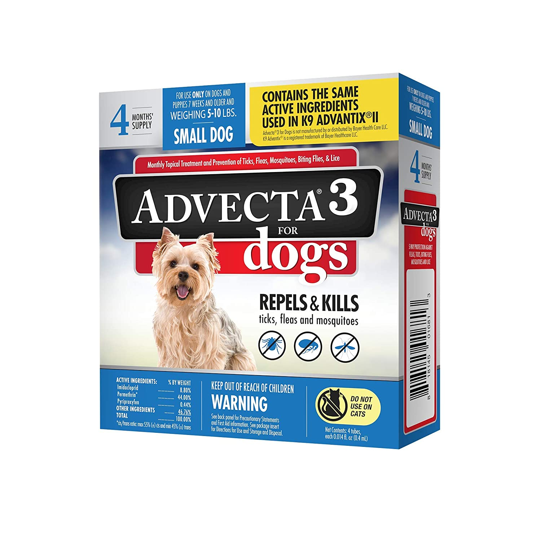 Advecta 3 Flea & Tick Topical Treatment, Flea & Tick Control for Dogs, 4 Month Supply 81opOps7L3L