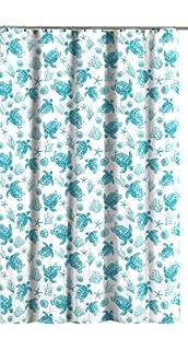Avalon Home Teal White Fabric Shower Curtain Sea Turtle Ocean Theme Design