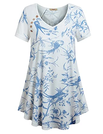 ed4e613913b Timeson Women s V Neck Floral Tunic Tops Casual Short Sleeves Loose ...
