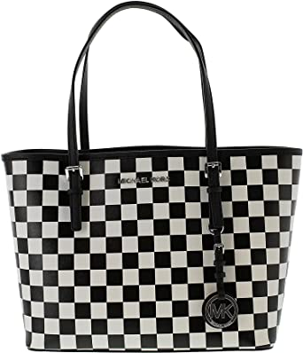 bb8aafef549897 Michael Kors Jet Set Small Checkered Travel Tote in Black & White Saffiano  Leather