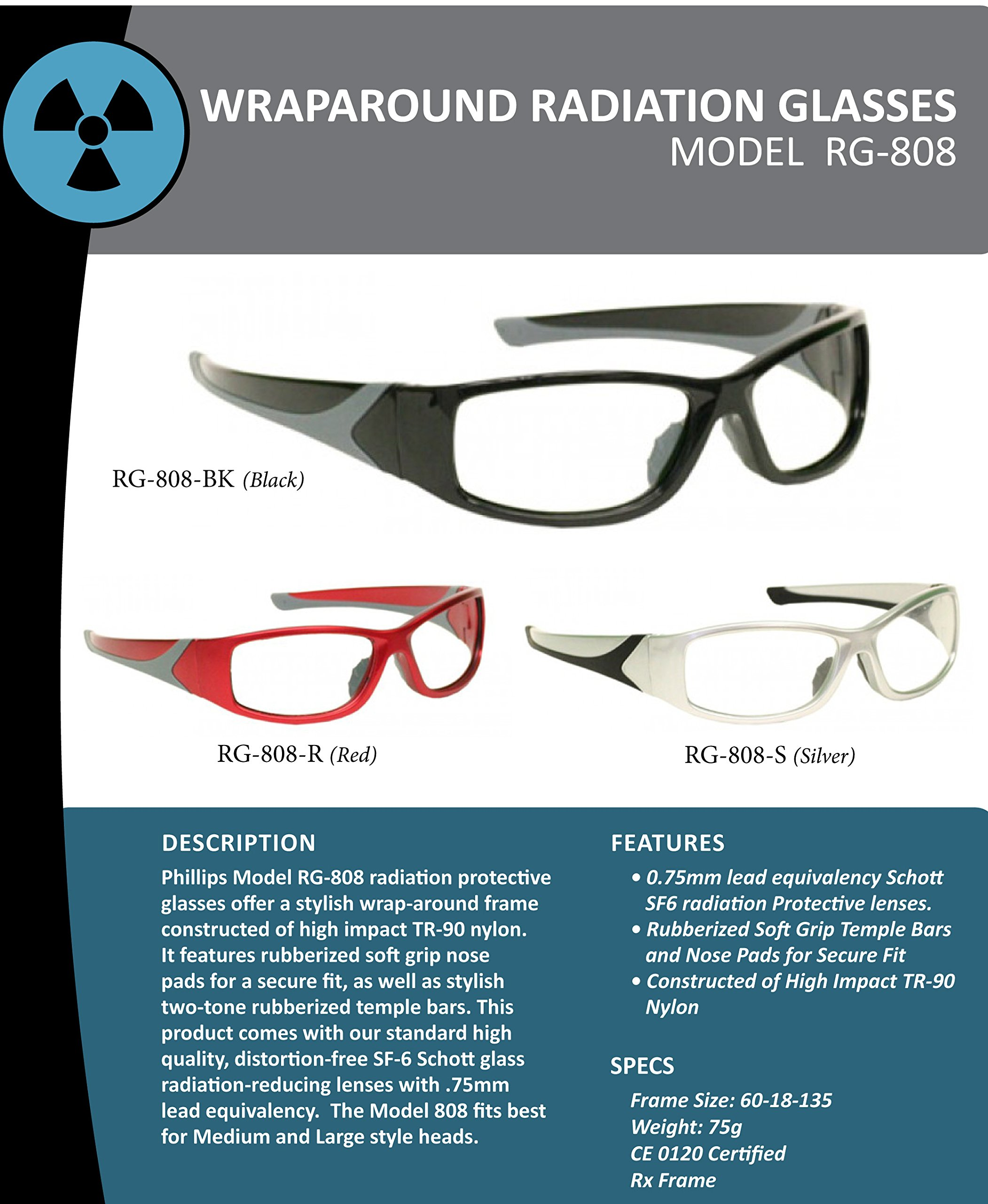Black Wraparound X-ray Radiation Protection Lead Glasses by Schott SF-6 HT