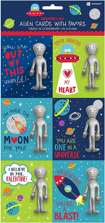 Alien Valentine Cards w//Stretchy Figure