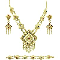 Siwalai Thai Traditional Gold Plated Multicolor Crystals Necklace Earrings Bracelet Jewelry Set 18 Inches