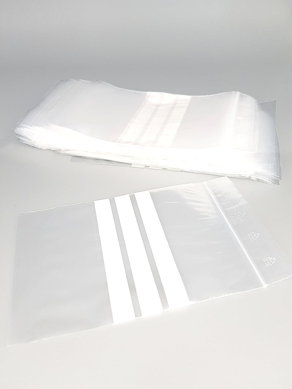 Bolsas de plástico con cierre zip con bandas blancas - 150mm x 180mm - paquete de 1000 piezas (10x100) - Apta para el contacto alimentario