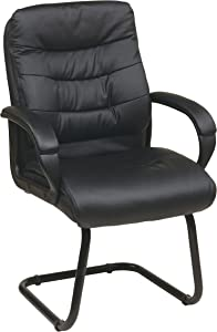 Office Star Faux Leather Visitors Chair with Padded Arms and Sled Base, Black