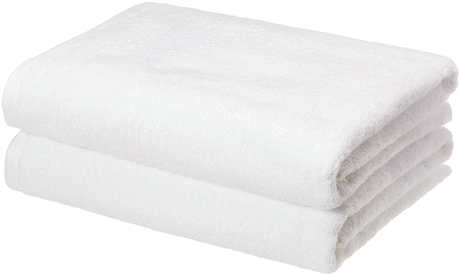 AmazonBasics Quick-Dry Bath Towels, 100% Cotton, Set of 2, White