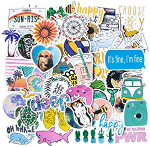 Cute VSCO Stickers [50PCS], Attractive, Trendy, Aesthetic Stickers for Water Bottles Vinyl Laptop Stickers for Teens Girls Guitar Phone Car Skateboards Stickers Popular Element Decals