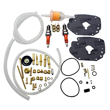 iFJF Super Carburetor E/G Master Rebuild Kit for Harley Carburetor Custom  with Idle Screw Spark Plug Fuel Filter Low Range Jet