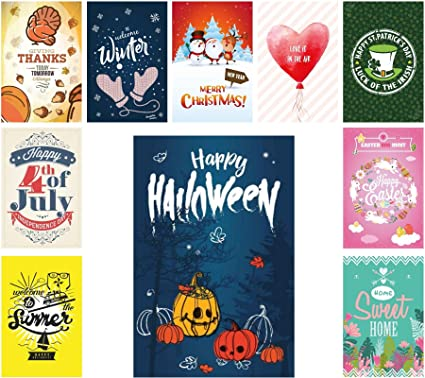 seasonal garden flag set of 10 for outdoor decorative holiday flags for happy gardens - Decorative Christmas Flags
