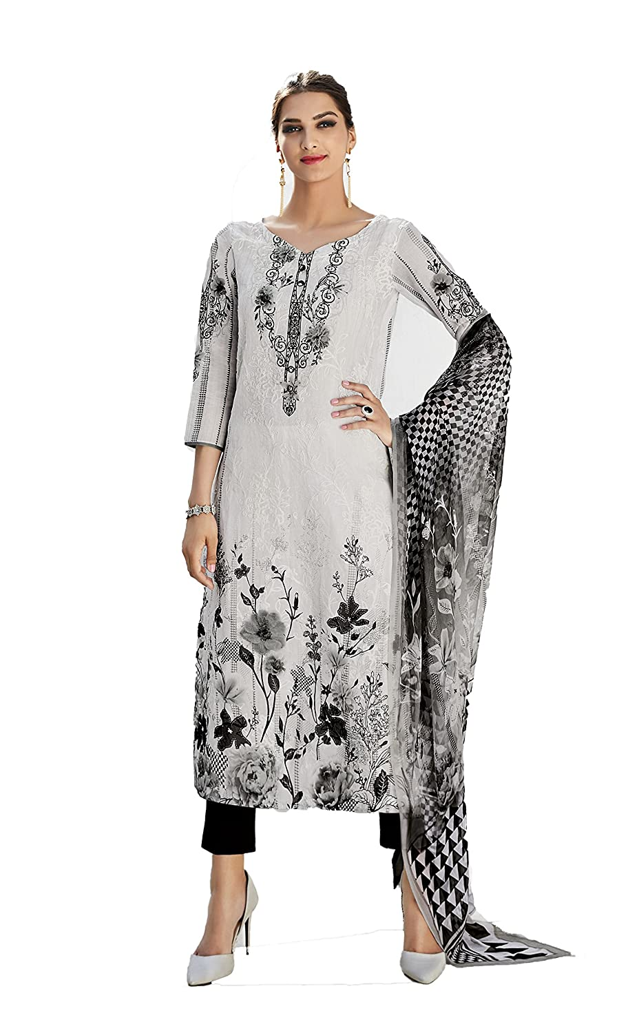 d41185fcf1 PRETTY BLACK AND WHITE COTTON CASUAL WEAR PAKISTANI STYLE SUIT: Amazon.in:  Clothing & Accessories