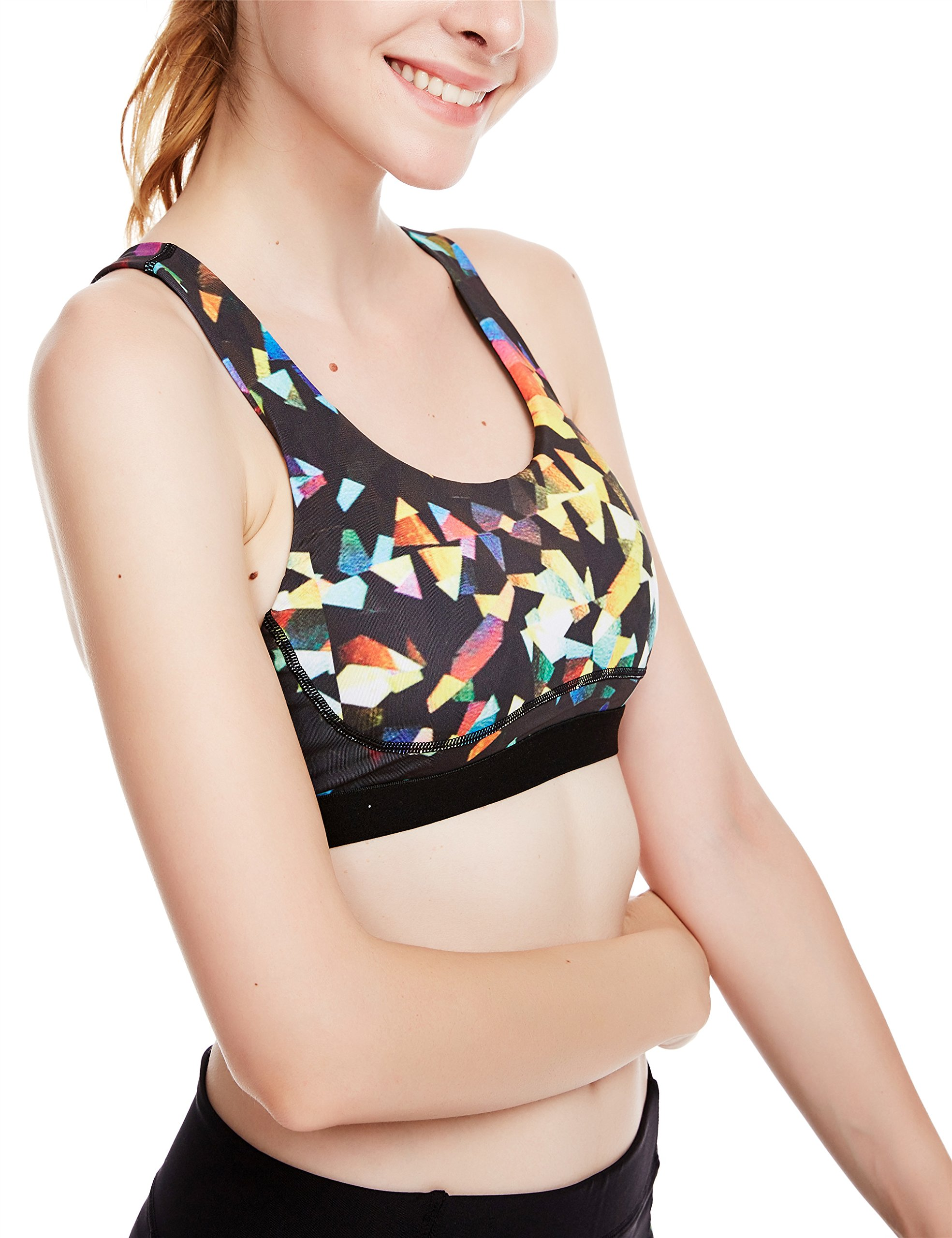 icyzone Women\'s Workout Yoga Clothes Activewear Racerback Printed Sports Bras (S, Fantastic)
