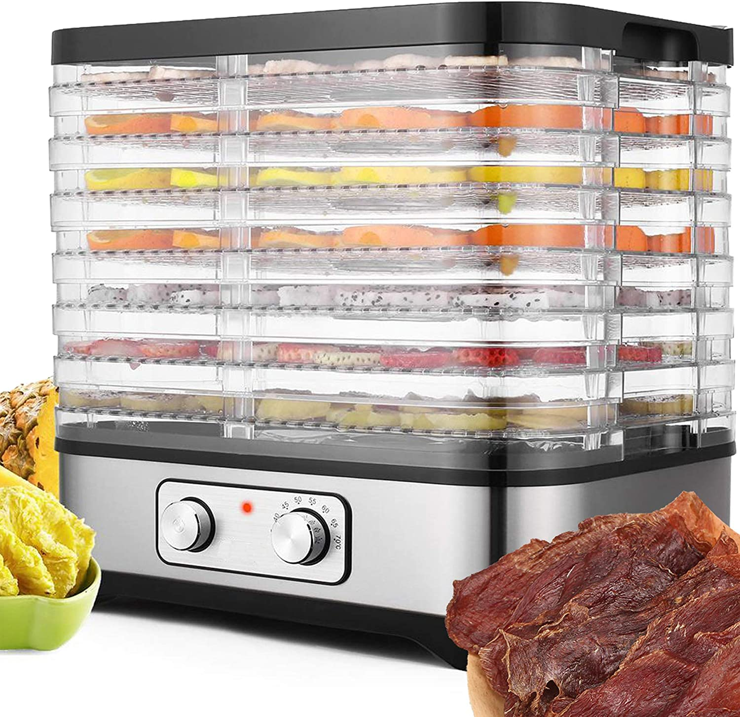 Food Dehydrator with Digital Temperature Control,Electric 7-Trays Meat Dehydrator Machine BPA Free Multi-Tier for Beef Jerky/Meat/Fruit/Nut/Herb/Vegetable